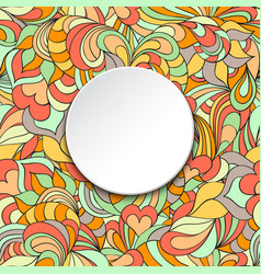card with abstract pattern and circle frame vector image