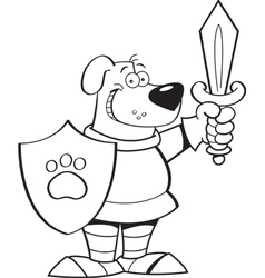 Cartoon dog in a suit of armor vector image