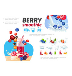 Cartoon healthy berry smoothies composition vector