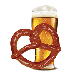 cartoon pretzel with beer vector image