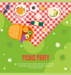 Cartoon summer picnic in park basket card vector