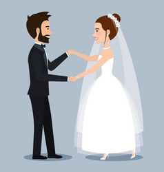 Character bride and groom newlyweds holding hands vector