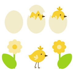 Chicken in shell and without easter bird and egg vector
