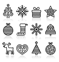 Christmas icons with stroke - xmas tree present vector