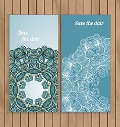 Circle lace hand-drawn ornament card vector image
