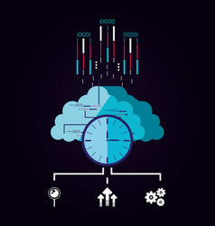 cloud computer with data center icons vector image
