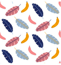 Colorful seamless pattern with banana and leaves vector