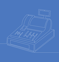 Continuous line drawing cash register concept vector