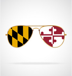 Cool aviator sunglasses with maryland state flag vector