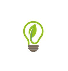 creative abstract green bulb leaf logo design vector image