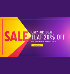 creative sale banner in purple and yellow color vector image