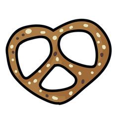 Cute fresh pretzel cartoon vector