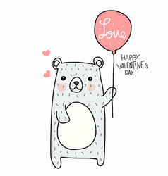 cute white bear with love balloon happy valentines vector image