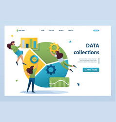 data collection is carried out employees flat vector image