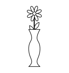 decorative vase with flower vector image