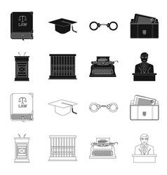 Design of law and lawyer logo set of law vector