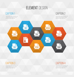 document icons set collection of document record vector image
