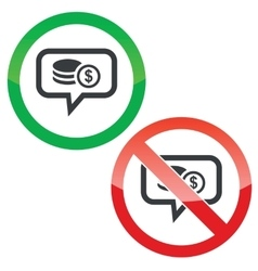 Dollar rouleau message permission signs vector