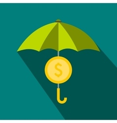 Dollar symbol under umbrella icon flat style vector image