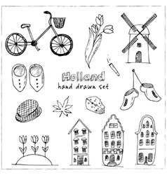 Doodle hand drawn collection holland icons vector