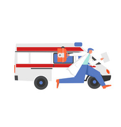 Emergency medical services flat style vector