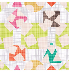 Fabric with geometric shapes colorful wallpaper vector