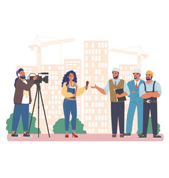 female journalist news reporter with microphone vector image