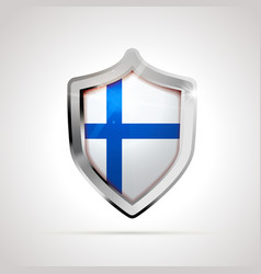 finland flag projected as a glossy shield on a vector image
