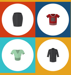 Flat icon dress set of casual uniform t-shirt vector