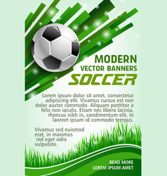 football sport game banner with soccer ball vector image vector image