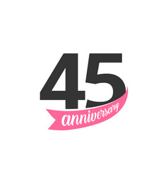forty fifth anniversary logo number 45 vector image