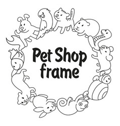 frame pet shop types of pets vector image