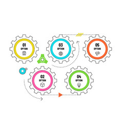 Gears infographic engineering timeline concept vector