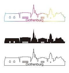 Gothenburg skyline linear style with rainbow vector