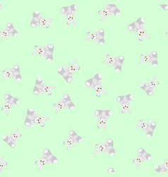 Gray bunnies kids seamless pattern vector
