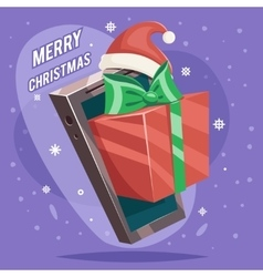 Greating Gift Christmas New Year Card Mobile Phone vector image