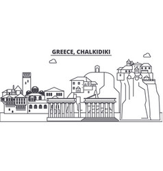 Greece chalkidiki line skyline vector