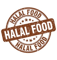 Halal food brown grunge round vintage rubber stamp vector