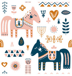 hand drawn seamless folk art pattern nordic vector image