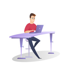 handsome smile office man work on laptop isolated vector image