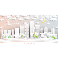 incheon south korea city skyline in paper cut vector image