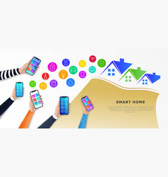 internet of things iot hands holding smartphones vector image
