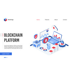 isometric blockchain platform technology vector image