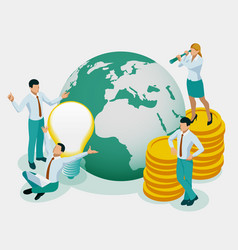 isometric concept investor holds money in ideas vector image