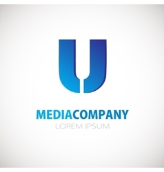 Letter U logo icon Blue business logotype vector image