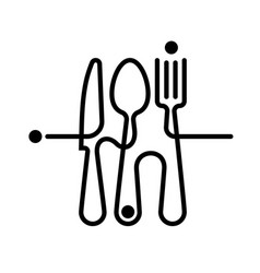 Logo a cafe or restaurant made forks spoons vector