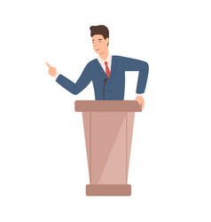 Male politician in suit standing at rostrum vector