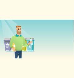Man throwing away plastic bottle vector