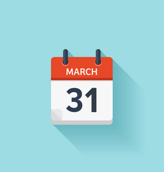 March 31 flat daily calendar icon Date vector