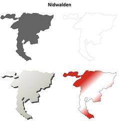 Nidwalden blank detailed outline map set vector image